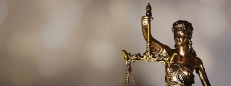 Statue of Justice - Lady Justice or Iustitia. Banner with room to add your own text.