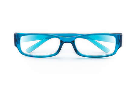 Blue eye glasses isolated on white background with copy space.