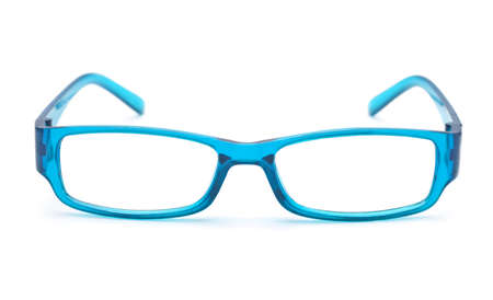 Transparent blue eye glasses. Front view isolated on white background.