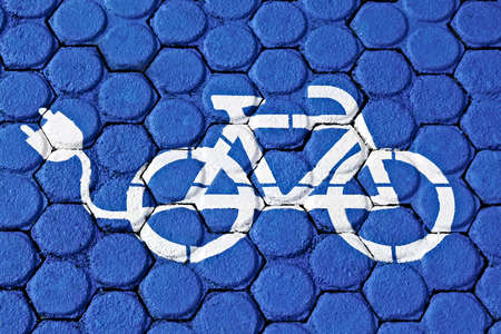 Electric bicycle charging. Blue Road Marking.