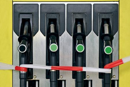 Blocked gun gas petrol station. Out of order.