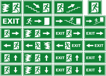 escaping: vector symbol set - emergency exit sign - fire alarm plate - person escaping flames through door Illustration