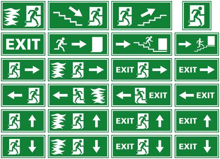vector symbol set - emergency exit sign - fire alarm plate - person escaping flames through door