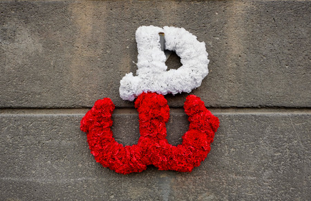 kotwica - the emblem of the Polish resistance against German occupation, made of flowers on a concrete wall