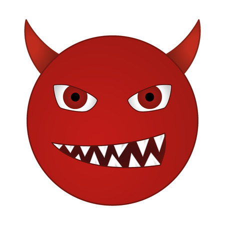 sins: smiling devil emoticon  grinning red demon smiley - vector emoji