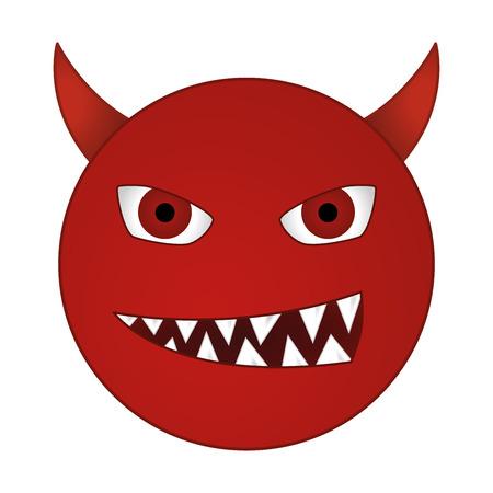 smiling devil emoticon  grinning red demon smiley - vector emoji
