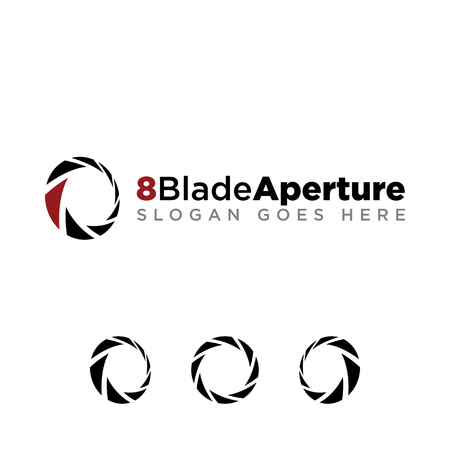 8 Aperture blade for photography company logo set with modern look. black logo with red accent color