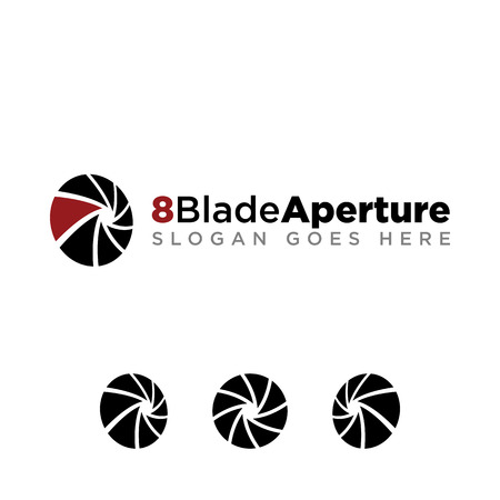 8 Aperture blade for photography company logo set with modern look. black logo with red accent color Stock Illustratie