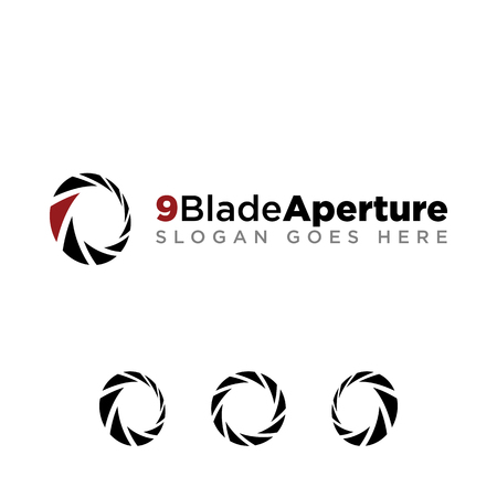 9 Aperture blade for photography company logo set with modern look. black logo with red accent color Stock Illustratie