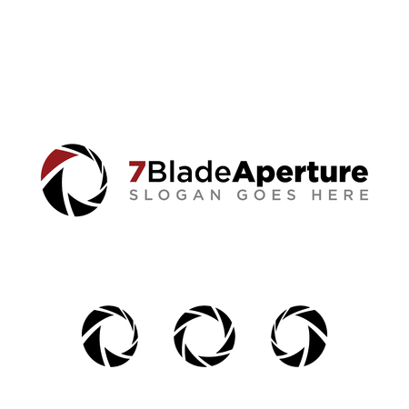 7 Aperture blade for photography company logo set with modern look. black logo with red accent color
