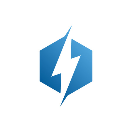 modern electrical blue lightning bolt icon