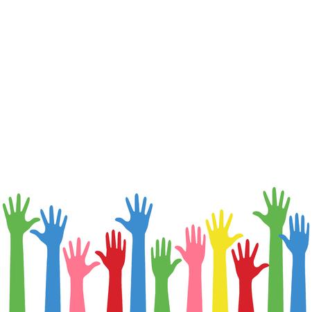 Sfondo colorato alzare le mani Vettoriali