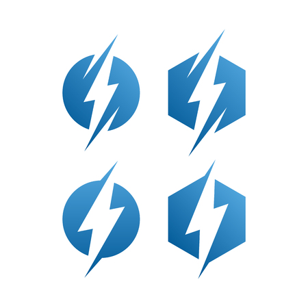 modern electrical blue lightning bolt logo icon set with high end look