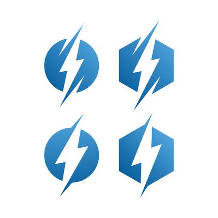 moderno icono de logotipo de rayo azul eléctrico con aspecto de alta gama