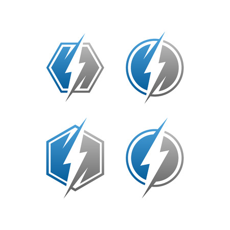 modern electrical blue lightning bolt logo icon set with high end look Archivio Fotografico - 120039274