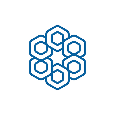 Unique New Geometric Design Icon Symbol Logo for technology business health company with modern high end look