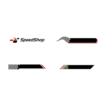 Modern Speed Race Flag Banner Background Logo for automotive company logo decal fast speed with high end look Stock Illustratie