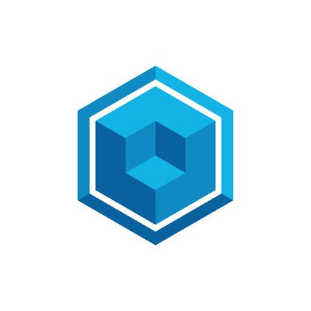 Hexagon Box Element Template Icon für Technologiefinanzierungsunternehmen mit modernem High-End-Look