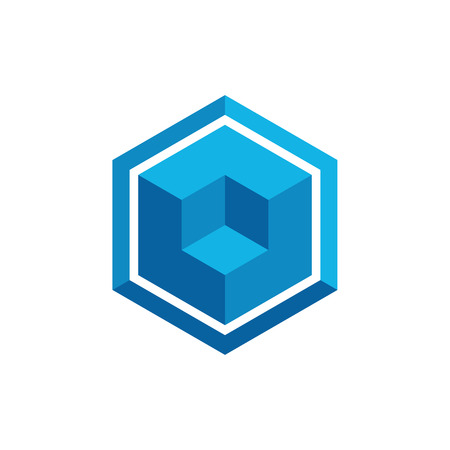 Hexagon Box Element Template Icon for technology finance business health company with modern high end look