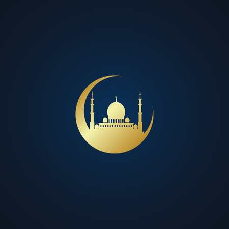Modern Mosque Moslem Icon Vector Gold Dark Background For All business company greeting with luxury high end look