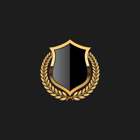 Blank Badge Shield Crest Label Armor Luxury Gold Design Element Template pour fond de logo Carte Invitations Élément de décoration