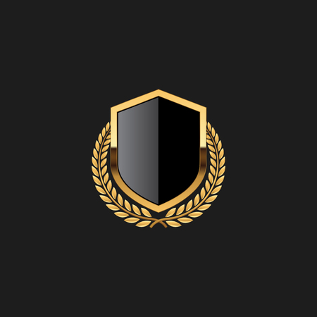 Blank Badge Shield Crest Label Armor Luxury Gold Design Element Template for logo background Card Invitations Decoration Element