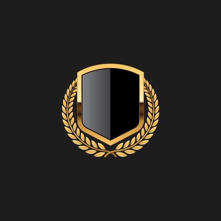 Blank Badge Shield Crest Label Armor Luxury Gold Design Element Template pour fond de logo Carte Invitations Élément de décoration Logo