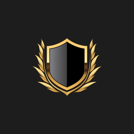 Blank Badge Shield Crest Label Armor Luxury Gold Design Element Template for logo background Card Invitations Decoration Element Stok Fotoğraf - 124388611