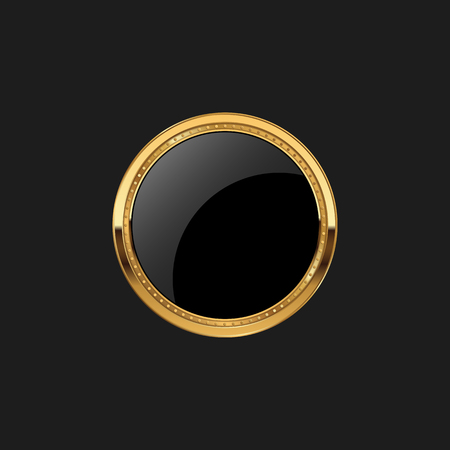 Blank Circle Badge Pin Luxury with Color Gold Design Element Template for logo background Çizim