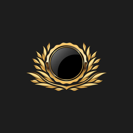 Blank Circle Badge Pin Luxury with Color Gold Design Element Template for logo background Иллюстрация