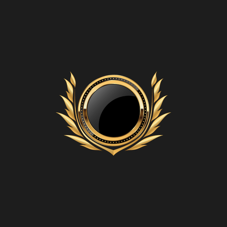 Blank Circle Badge Pin Luxury with Color Gold Design Element Template for logo background Logó