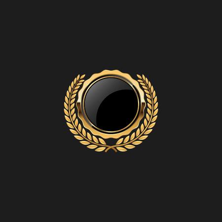 Blank Circle Badge Pin Luxe avec modèle d'élément de conception couleur or pour fond de logo