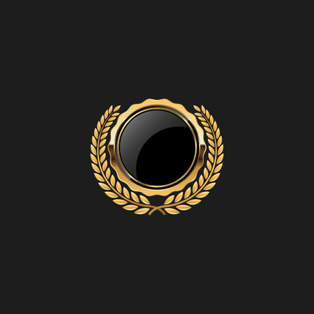 Blank Circle Badge Pin Luxury with Color Gold Design Element Template for logo background