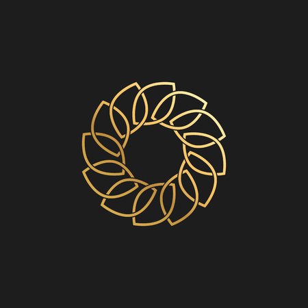 Abstract Leaf Ornament Luxury Gold Circle Design Element for Logo background Card Invitations Decoration