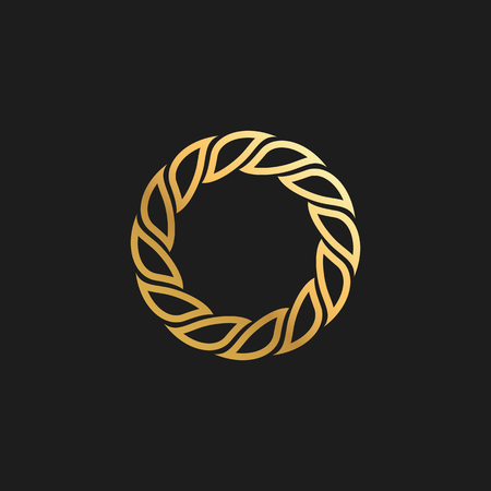 Abstract Ornament Luxury Gold Circle Frame Design Element for Logo background Card Invitations Decoration  イラスト・ベクター素材