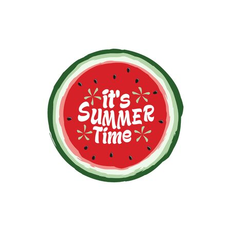 Unique Modern Watermelon Summer Time Design Background Banner Template with Text It's Summer Time for Used Personally and All Business Company 일러스트