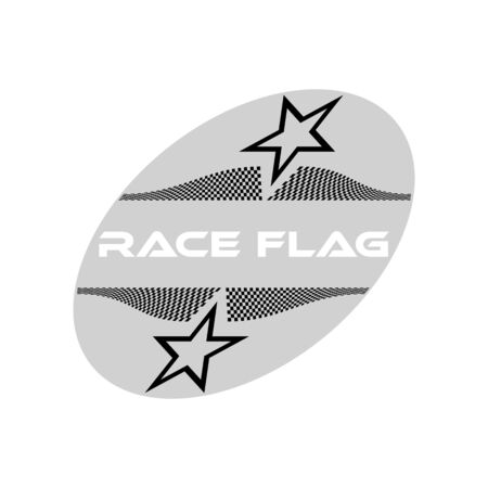 Modern Checkered Race Flag Design Element for automotive company logo decal inside Ellipse Background Template