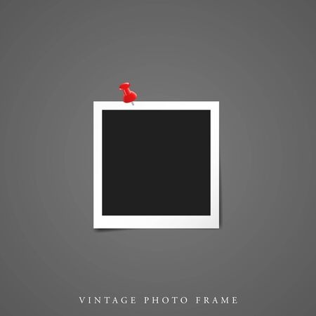 One Single Blank vintage photo white frame black inside with shadow mock-up vector illustration template