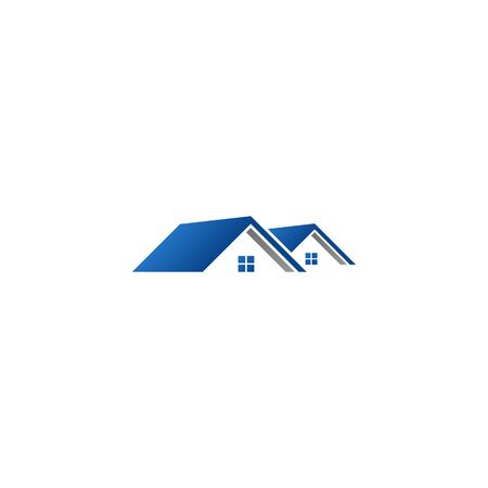 Real Estate Construction Logo design vector Template house and building with blue grey color