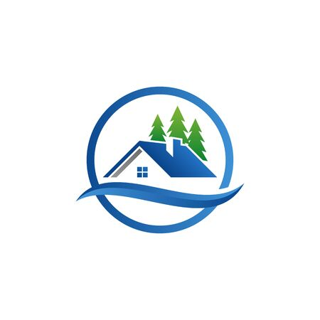 Real Estate Construction Logo design vector Template house and building with blue grey color Logo