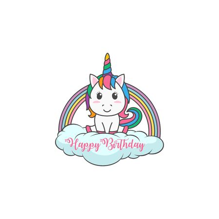 Cartoon Happy Birthday Magical Unicorn illustration Invitation Greeting Card with fun and cute look pastel color Vectores