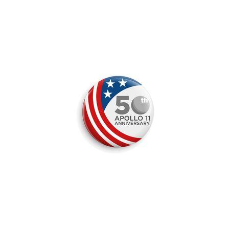 50 years moon landing Apollo 11 celebration anniversary for website, poster, greeting card, social media Illustration