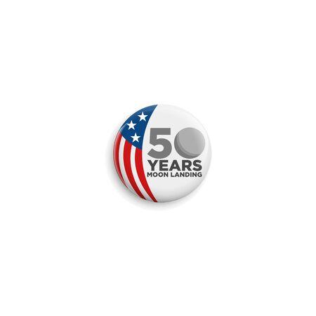 50 years moon landing Apollo 11 celebration anniversary for website, poster, greeting card, social media Ilustração