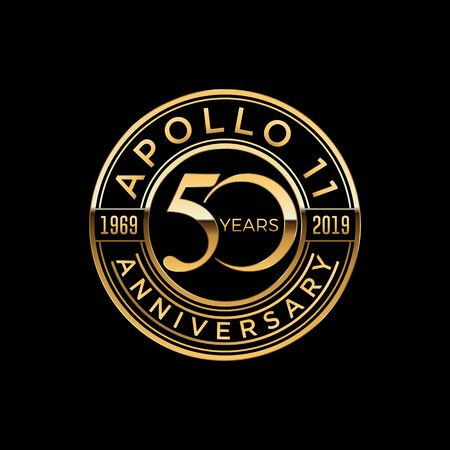 50 years moon landing Apollo 11 celebration anniversary for website, poster, greeting card, social media Vector Illustration