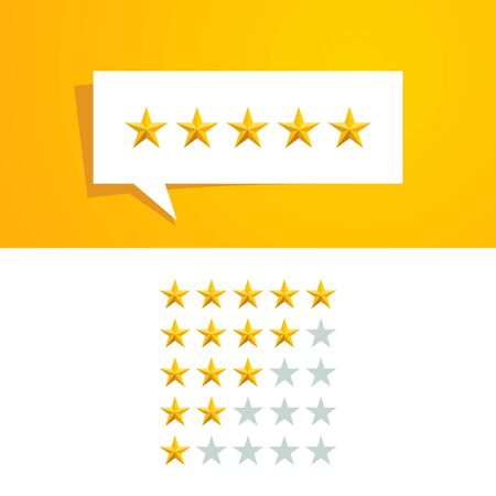 5 five Star Rating Review Vector Design Template with Gold Color and Speech Bubble for All Company Evaluation