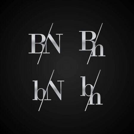 BN initial letter elegant symbol template vector for creative label packaging brand wedding invitations business black and silver color based Çizim