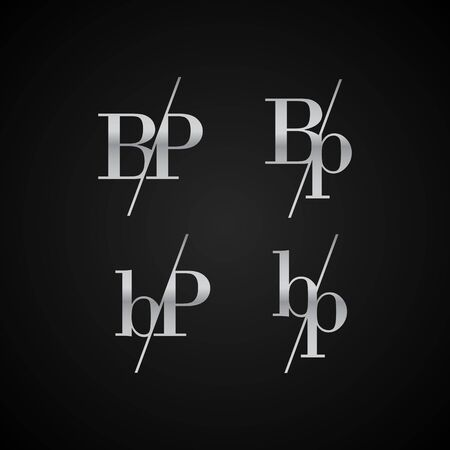BP initial letter elegant symbol template vector for creative label packaging brand wedding invitations business black and silver color based