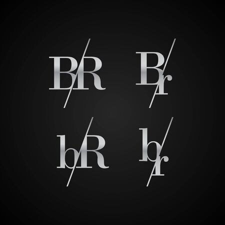 BR initial letter elegant symbol template vector for creative label packaging brand wedding invitations business black and silver color based