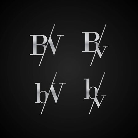BV initial letter elegant symbol template vector for creative label packaging brand wedding invitations business black and silver color based Çizim