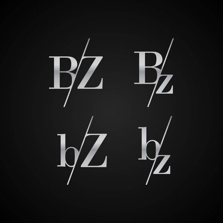 BZ initial letter elegant symbol template vector for creative label packaging brand wedding invitations business black and silver color based